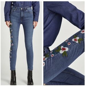 NWT Zara high waist skinny jeans side embroidered